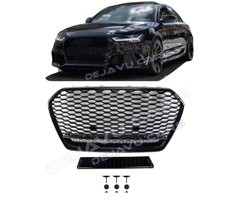 RS6 Quattro Look Front Grill Black Edition for Audi A6 C7.5 Facelift