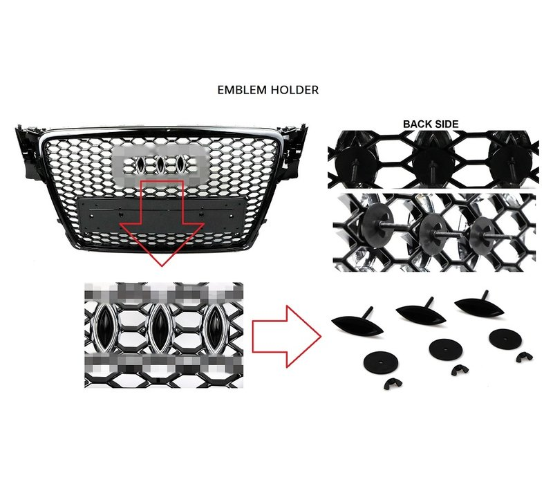RS3 Look Front Grill Black/Chrome voor Audi A3 8V