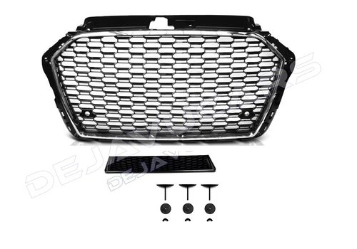 OEM LINE RS3 Look Front Grill  Black/Chrome for Audi A3 8V