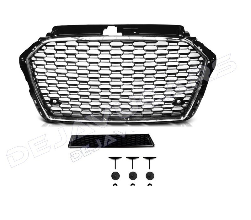 RS3 Look Kühlergrill Black/Chrome für Audi A3 8V