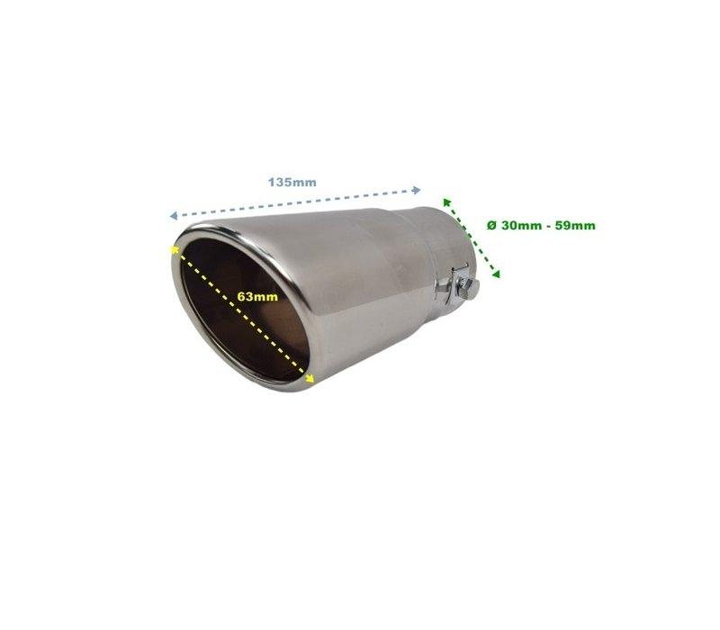 Universal Sport Look Auspuff Endrohr 63mm Chrom Rund Schräg