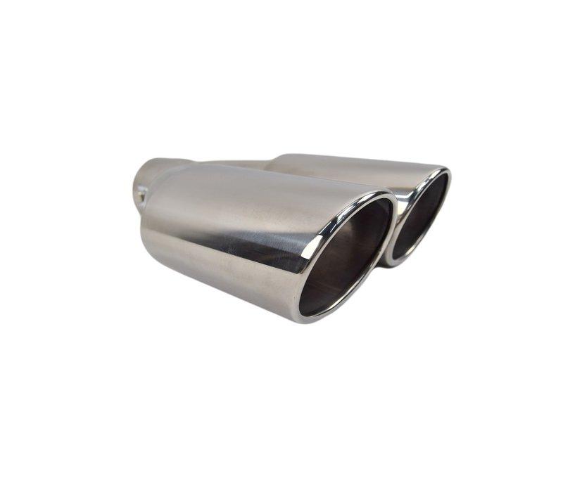 Universal Sport Look Duplex Exhaust tips Solid Oval