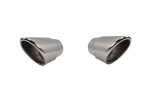 OEM LINE Sport Look Exhaust tips 100mm Chrome round oblique for Audi Q7 4L