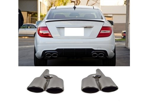 OEM LINE C63 AMG Look Exhaust Tail pipes set for Mercedes Benz C-Class W204