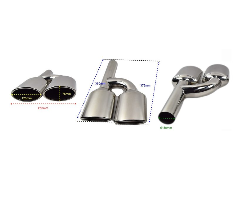 C63 AMG Look Exhaust Tail pipes set for Mercedes Benz C-Class W204