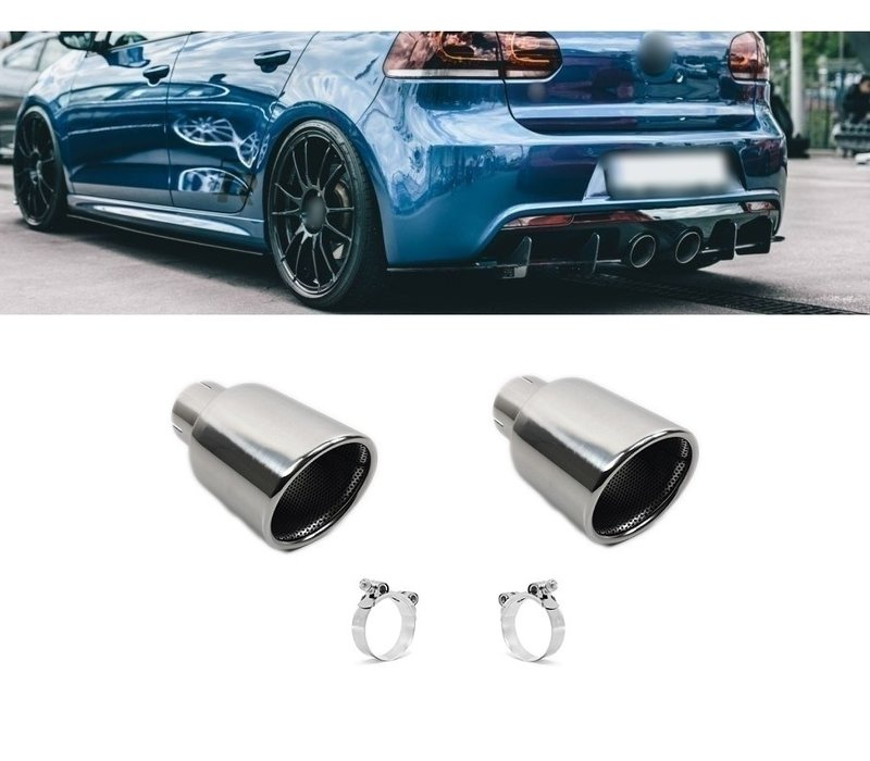 Chrome Exhaust tips for Volkswagen Golf 6 R20 & Golf 5 R32