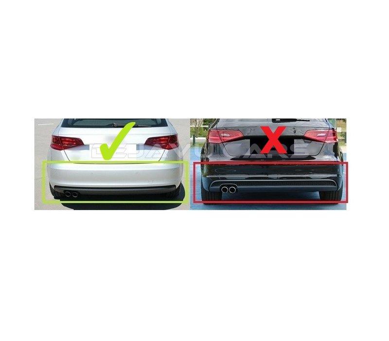 S3 Look Diffuser + Uitlaat systeem voor Audi A3 8V Hatchback / Sportback