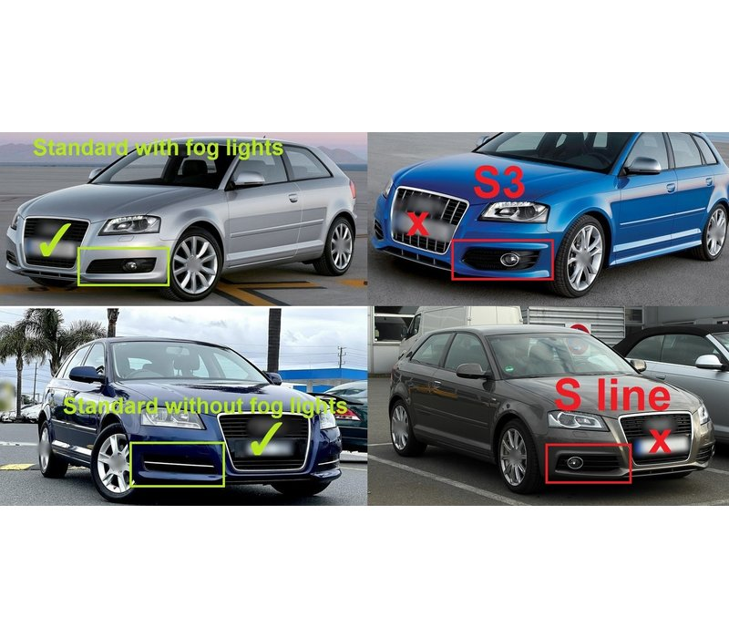 RS Look Fog Light Grilles for Audi A3 8P Facelift