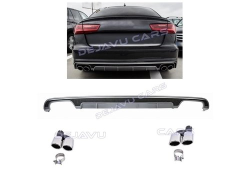 OEM LINE S6 Look Diffuser + Exhaust tail pipes for Audi A6 C7.5 Facelift
