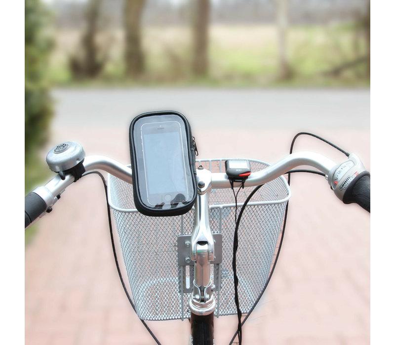 Bicycle Handlebar Smartphone Mobile Phone Navi Bag Holder Rain Cover 360°