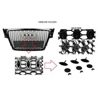 RS4 Look Front Grill Black Edition + Mistlamp Roosters voor Audi A4 / S4 / S line