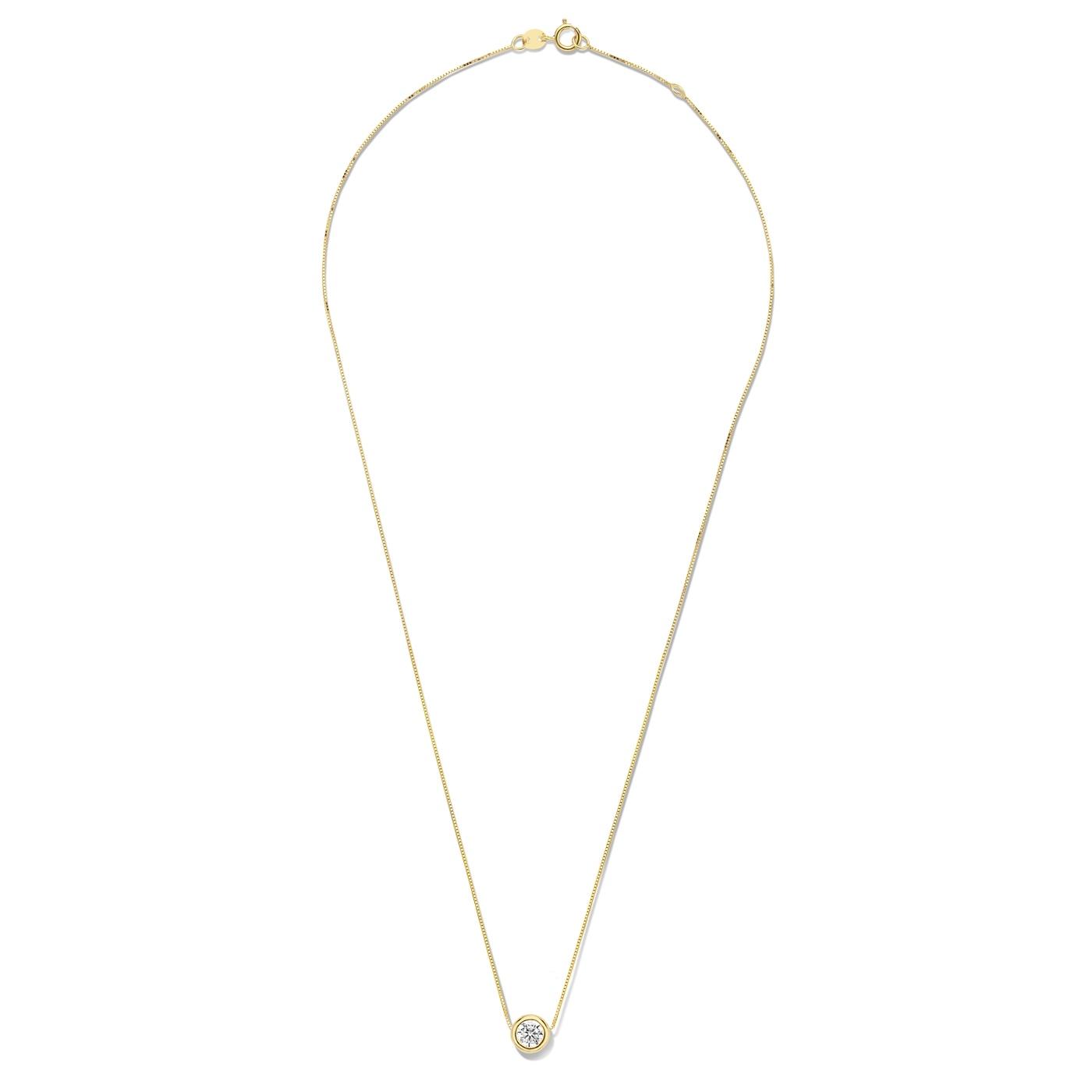 Isabel Bernard Le Marais Lison 14 karaat gouden collier met zirkonia