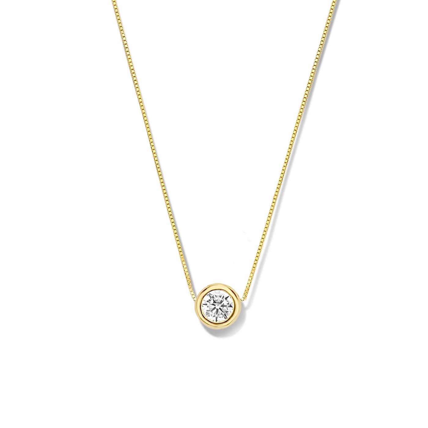 Isabel Bernard Le Marais Lison 14 karaat gouden collier zirkonia
