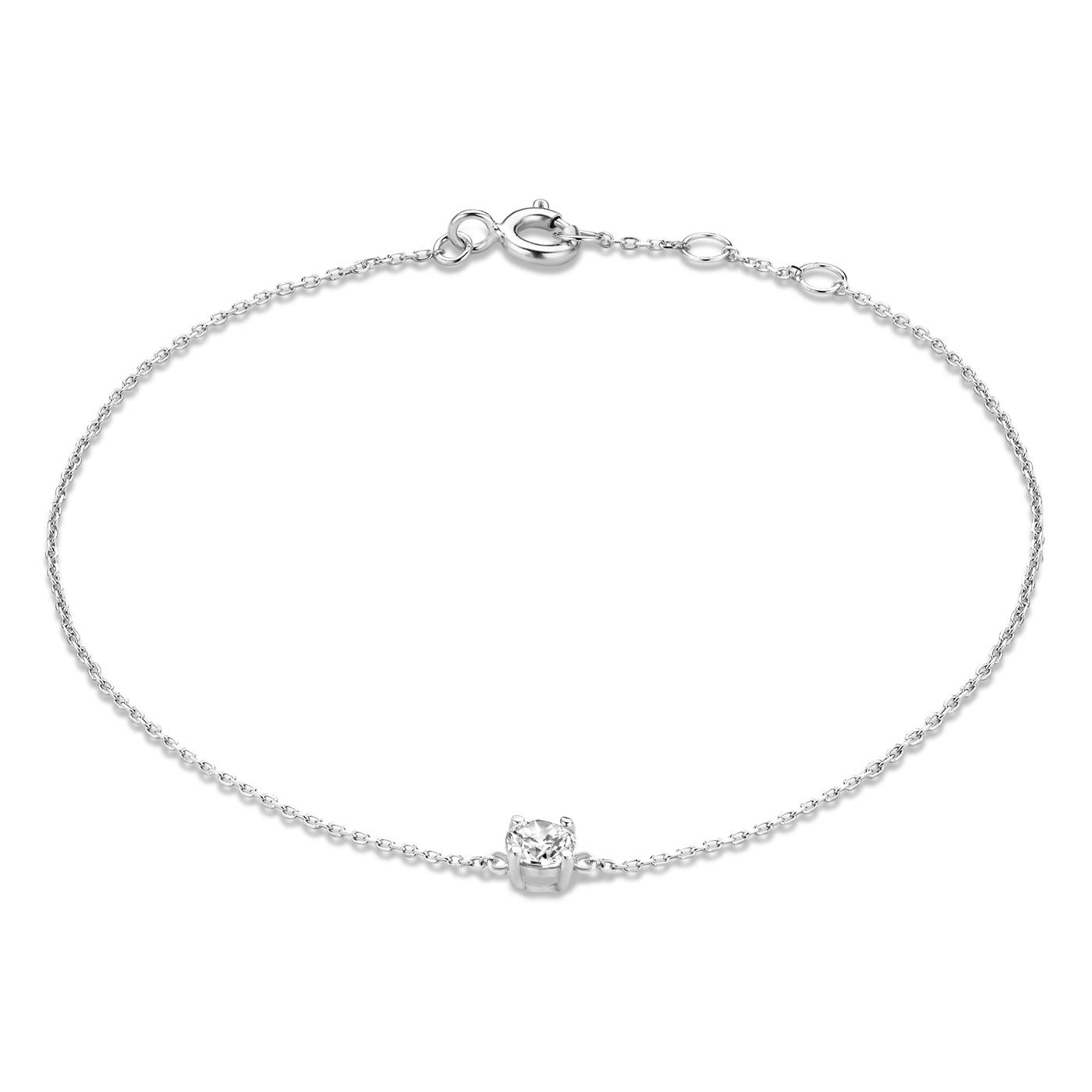 Isabel Bernard Saint Germain Faïs 14 karaat witgouden armband zirkonia