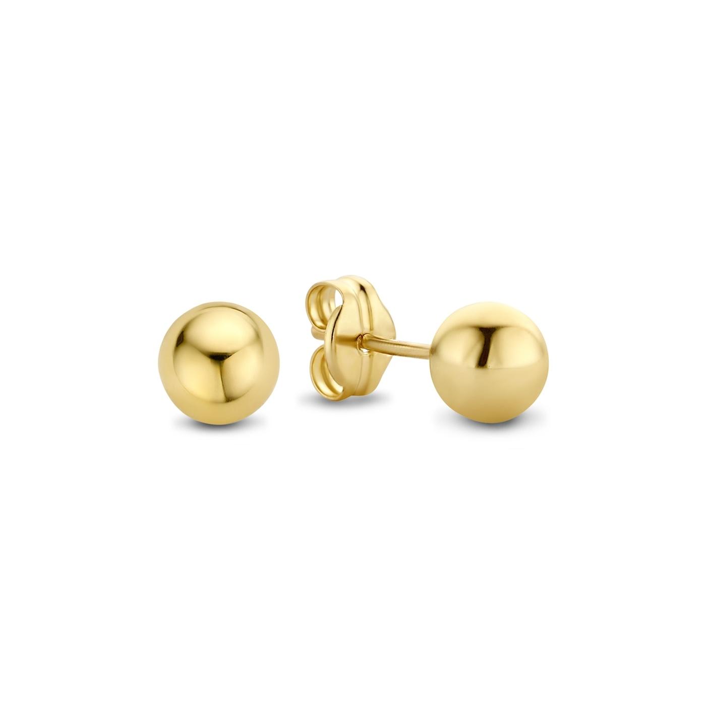 Isabel Bernard Rivoli Coco 14 karaat gouden oorknoppen met bolletje