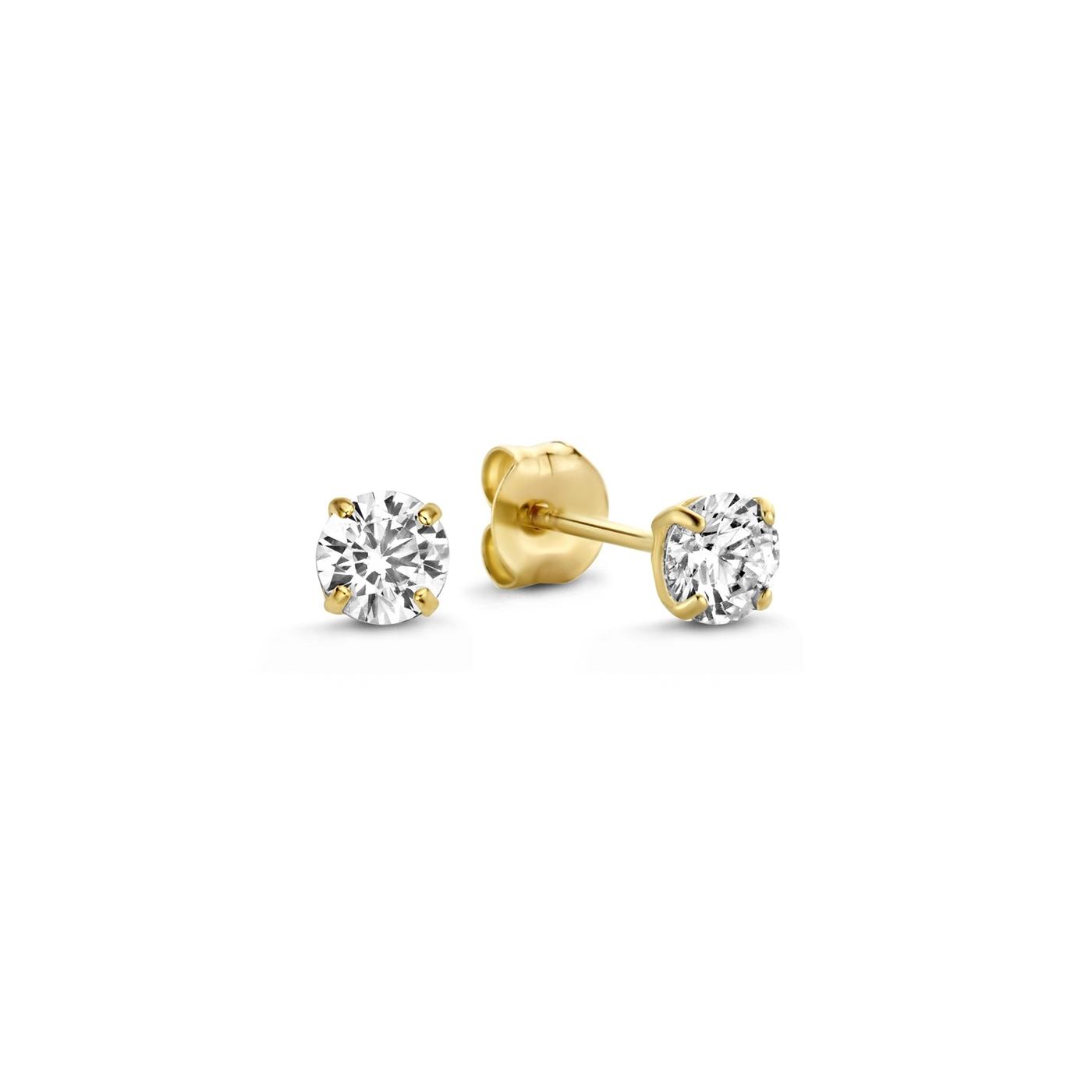Isabel Bernard Le Marais Lourdes 14 karat gold ear studs with zirconia