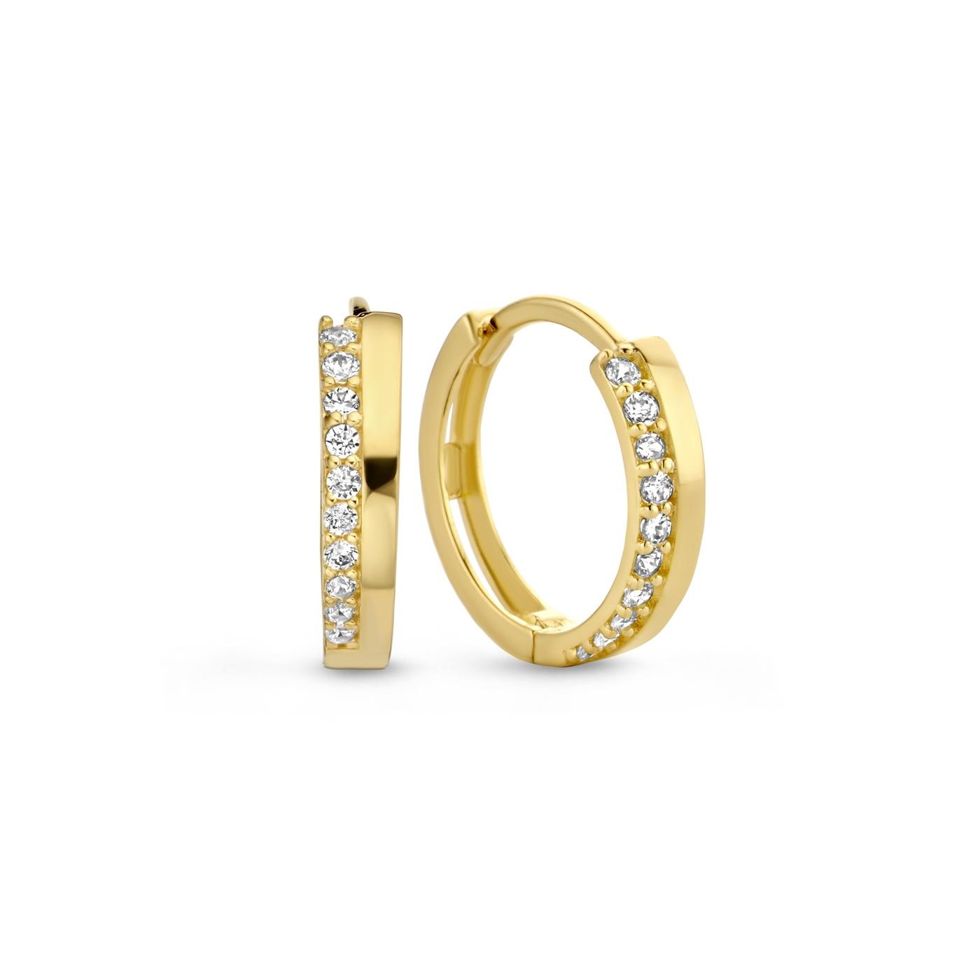 Isabel Bernard Orecchini a cerchio con zirconi in oro 14 carati Le Marais Louna