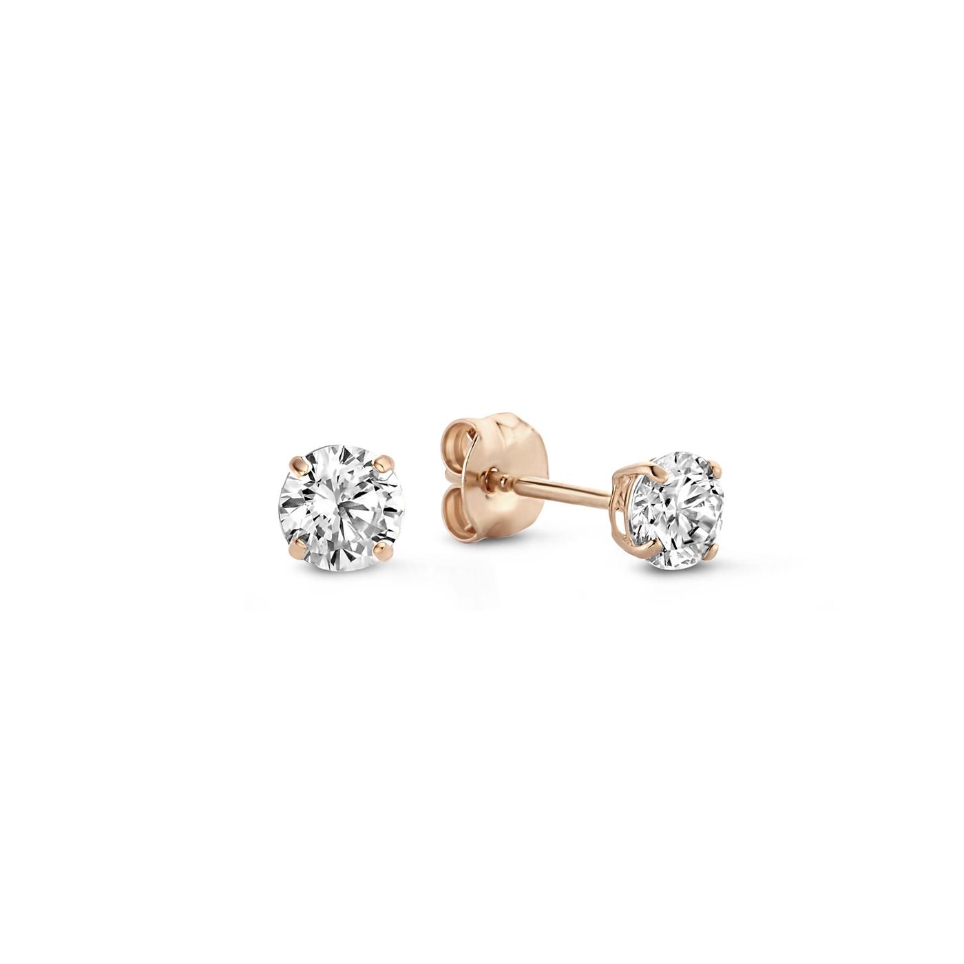 Isabel Bernard La Concorde Celesse 14 karaat rosé gouden oorknoppen met zirkonia