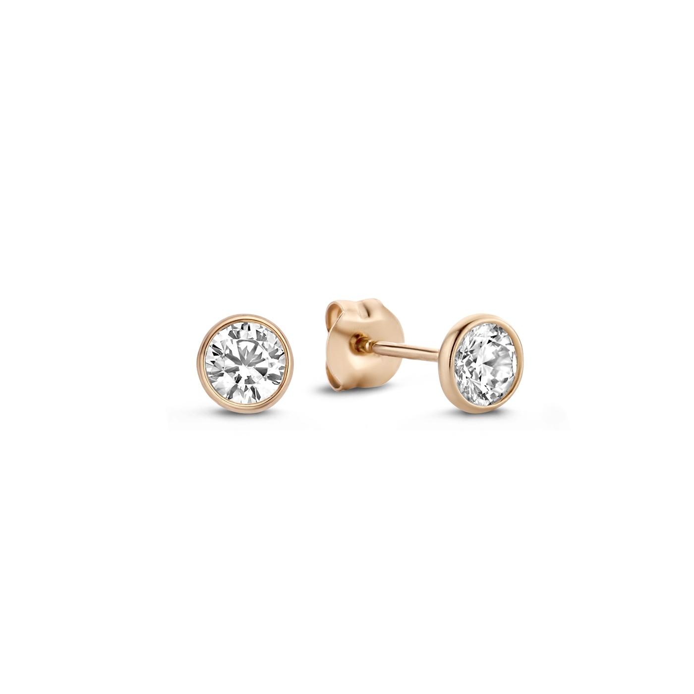 Isabel Bernard La Concorde Loane 14 karaat rosé gouden oorknoppen met zirkonia