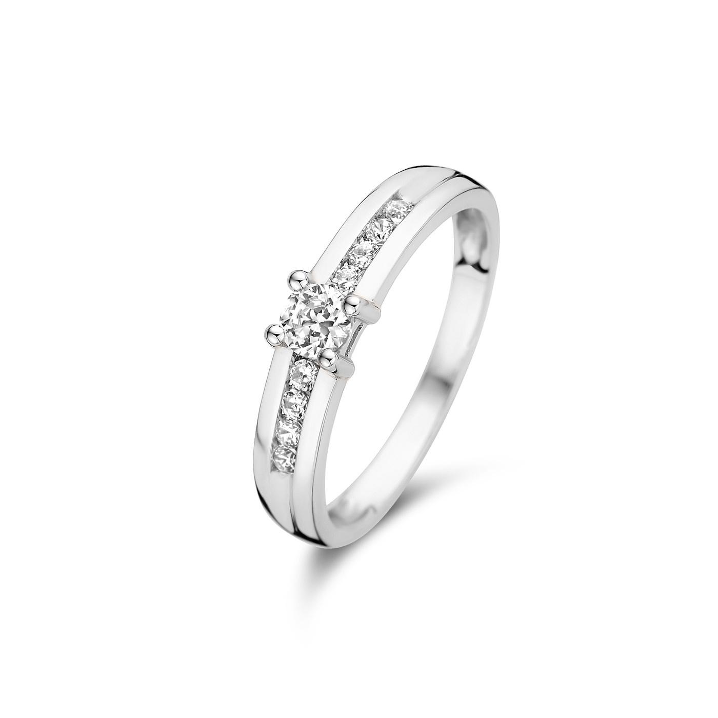 Isabel Bernard Saint Germain de Rennes 14 carat white gold ring zirconia