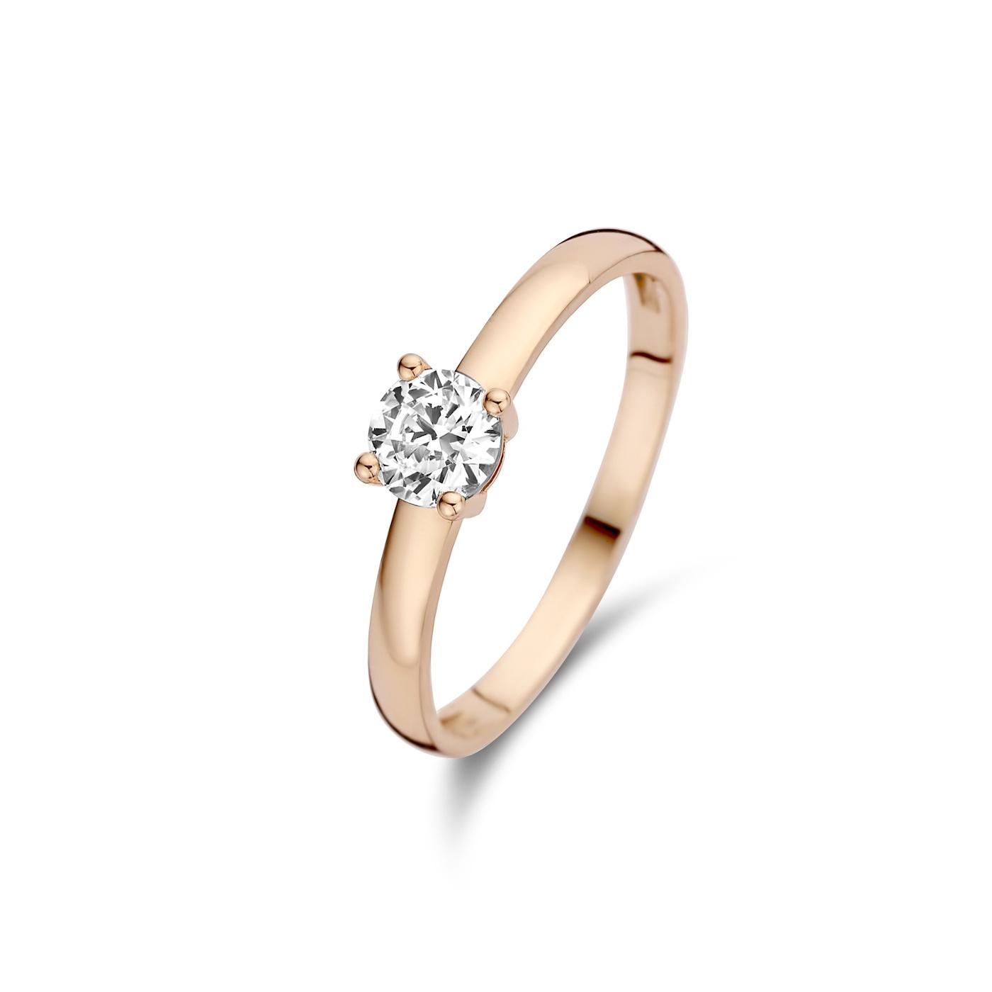 Isabel Bernard La Concorde Joelle 14 karaat rosé gouden ring met zirkonia