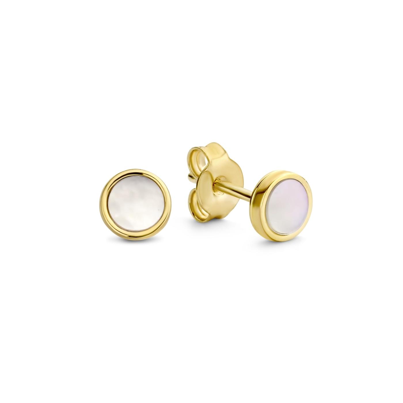 Isabel Bernard Belleville Luna 14 karaat gouden oorknoppen met zoetwaterparel