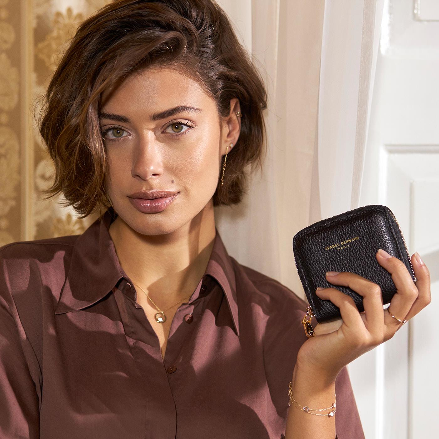 Isabel Bernard Honoré Jules schwarze Reißverschluss-Portemonnaie aus Kalbsleder
