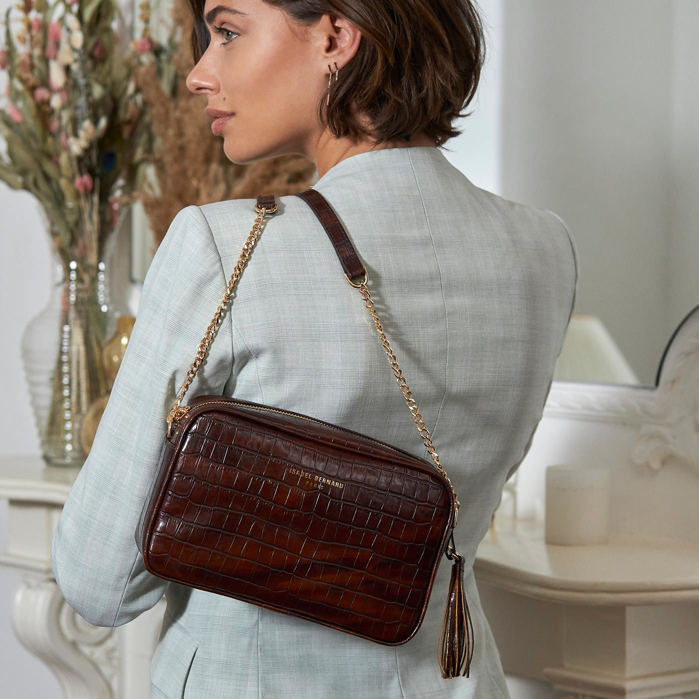 Isabel Bernard Honoré Lucie kroko braune Crossbody-Tasche aus Kalbsleder