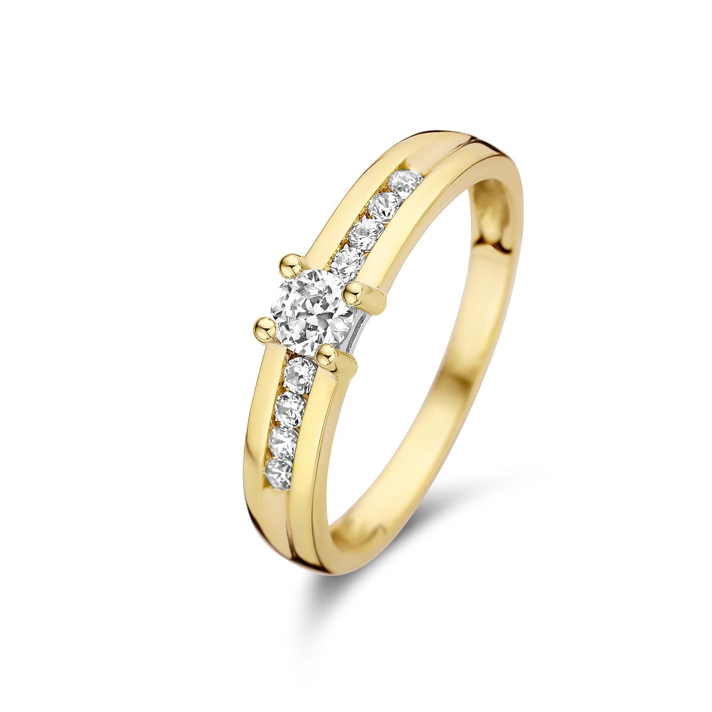 Isabel Bernard Le Marais Estee 14 karaat gouden ring met zirkonia