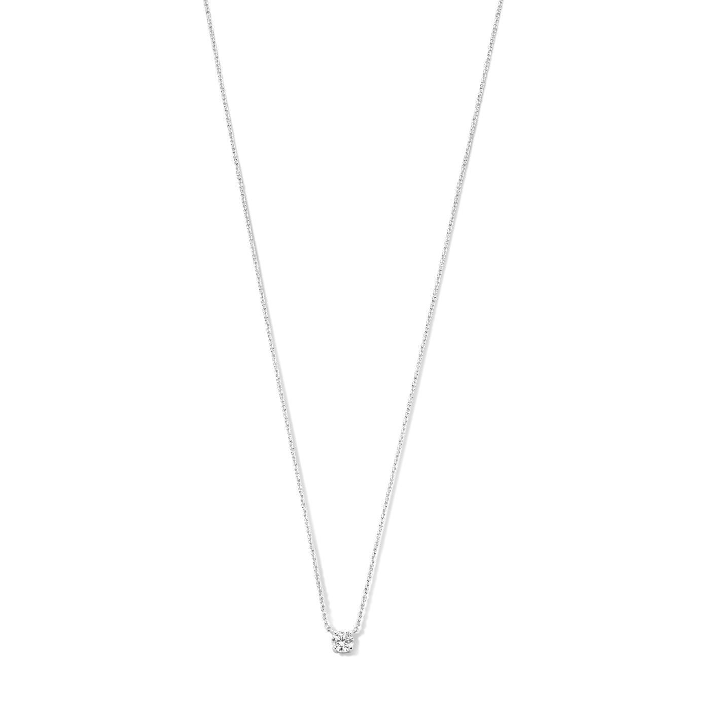 Isabel Bernard Collier Saint Germain Hélione en or blanc 14 carats zircone