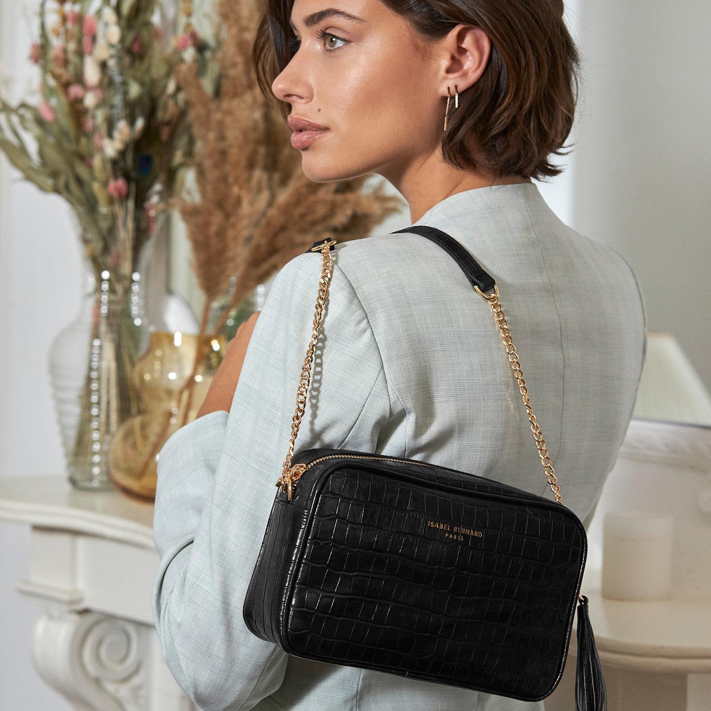 Isabel Bernard Honoré Luciecroco sort læder crossbody taske lavet af kalveskind