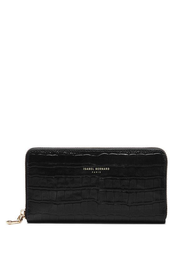 Isabel Bernard Honoré Léa croco black calfskin leather zipper wallet