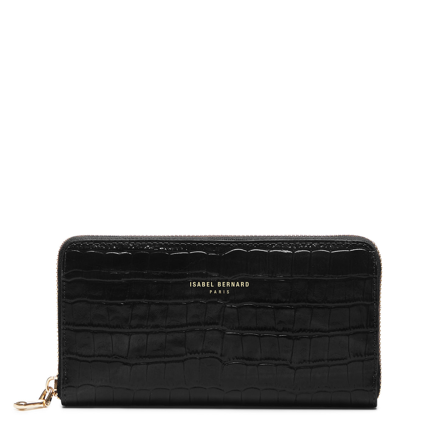 Isabel Bernard Honoré Léa croco black calfskin leather zipper wallet