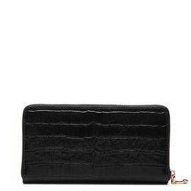 Isabel Bernard Honoré Léa kroko schwarz Brieftasche mit Reißverschluss aus Kalbsleder