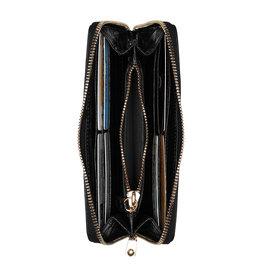 Isabel Bernard Honoré Léa croco sort læder lynlås punge lavet af kalveskind