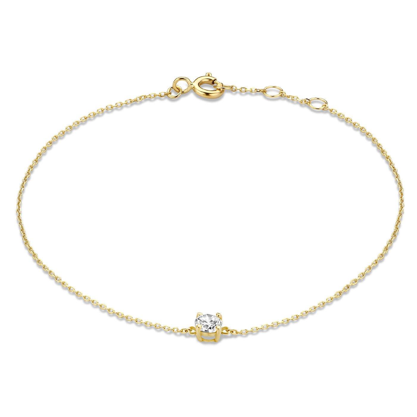 Isabel Bernard Le Marais Isabeau 14 karaat gouden armband met zirkonia