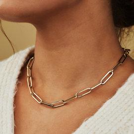 Isabel Bernard Aidee Idalie 14 karaat gouden collier fantasie ovale schakel