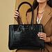 Isabel Bernard Honoré Cloe croco svart läder handväska av kalvskinn