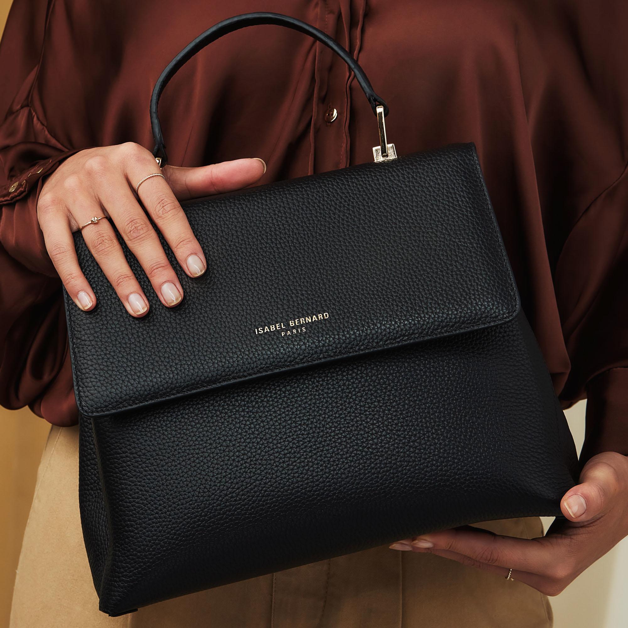 Isabel Bernard Femme Forte Gisel zwarte leren handtas van kalfsleer