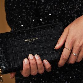 Isabel Bernard Honoré Léa portefeuille zippé en cuir de veau noir croco