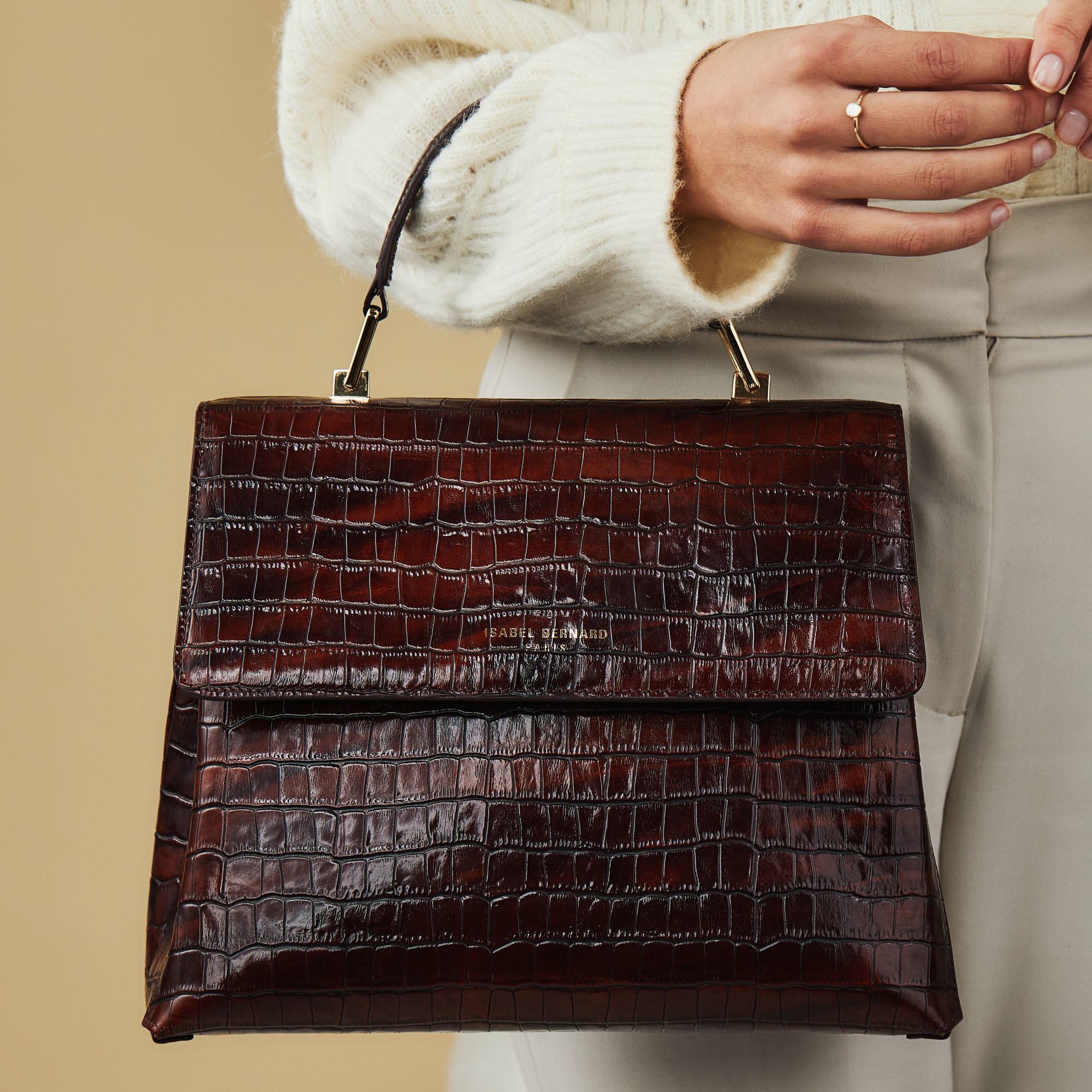 Isabel Bernard Femme Forte Gisel croco brun læder håndtaske lavet af kalveskind