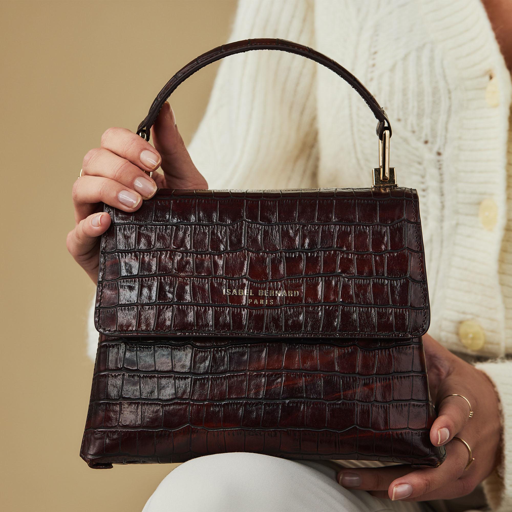 Isabel Bernard Femme Forte Heline sac à main en cuir de veau marron croco
