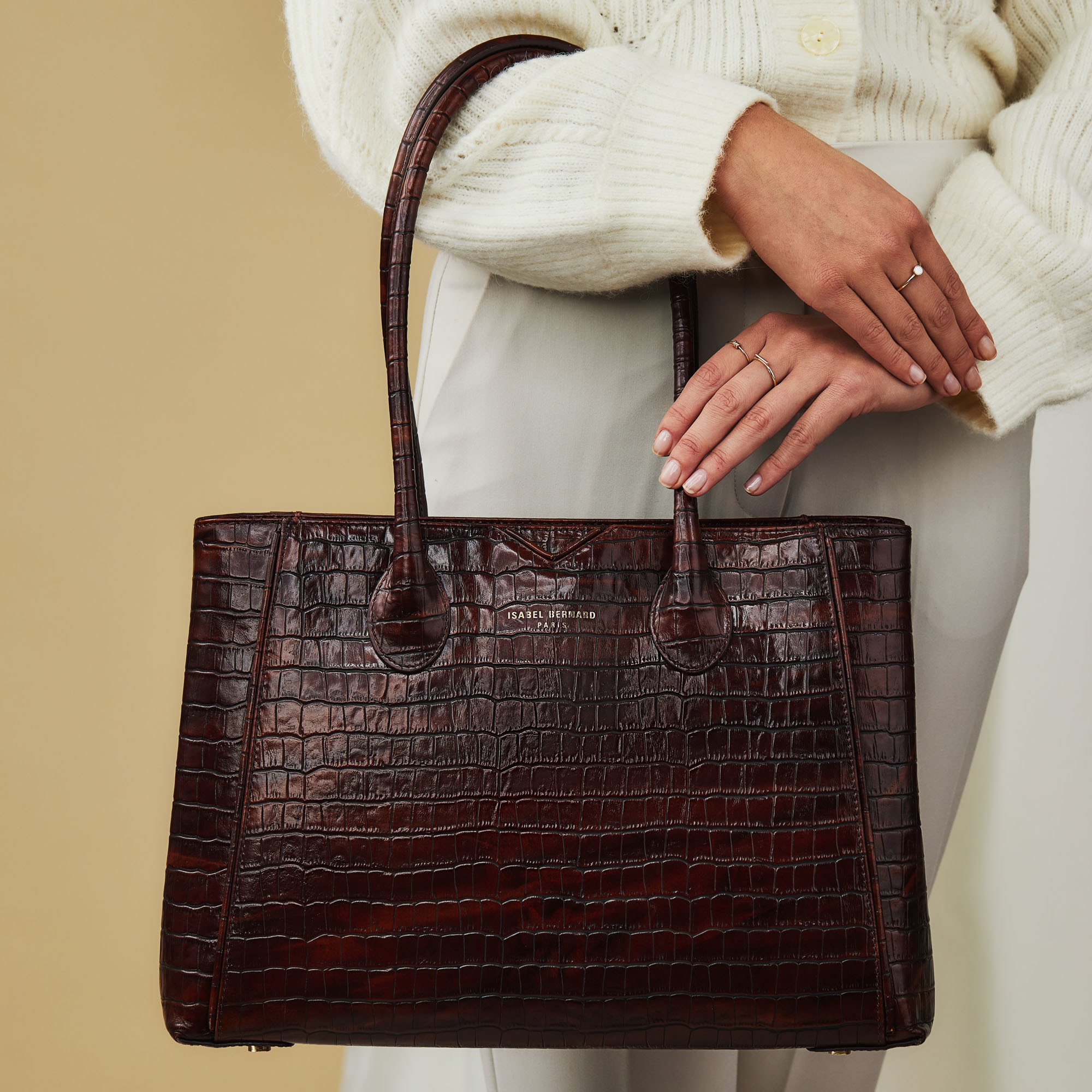 Isabel Bernard Honoré Cloe sac à main en cuir de veau marron croco