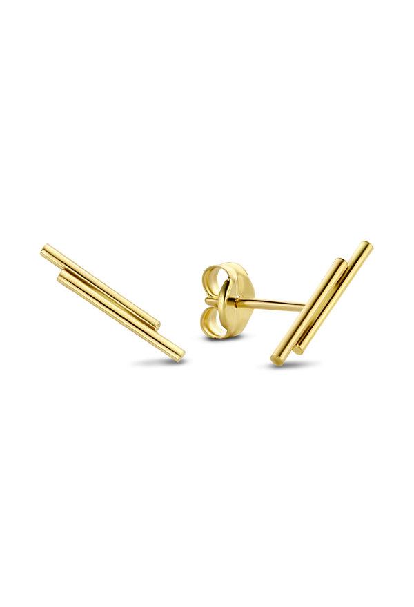 Isabel Bernard Orecchini a bottone a doppio tubo Le Marais in oro 14 carati
