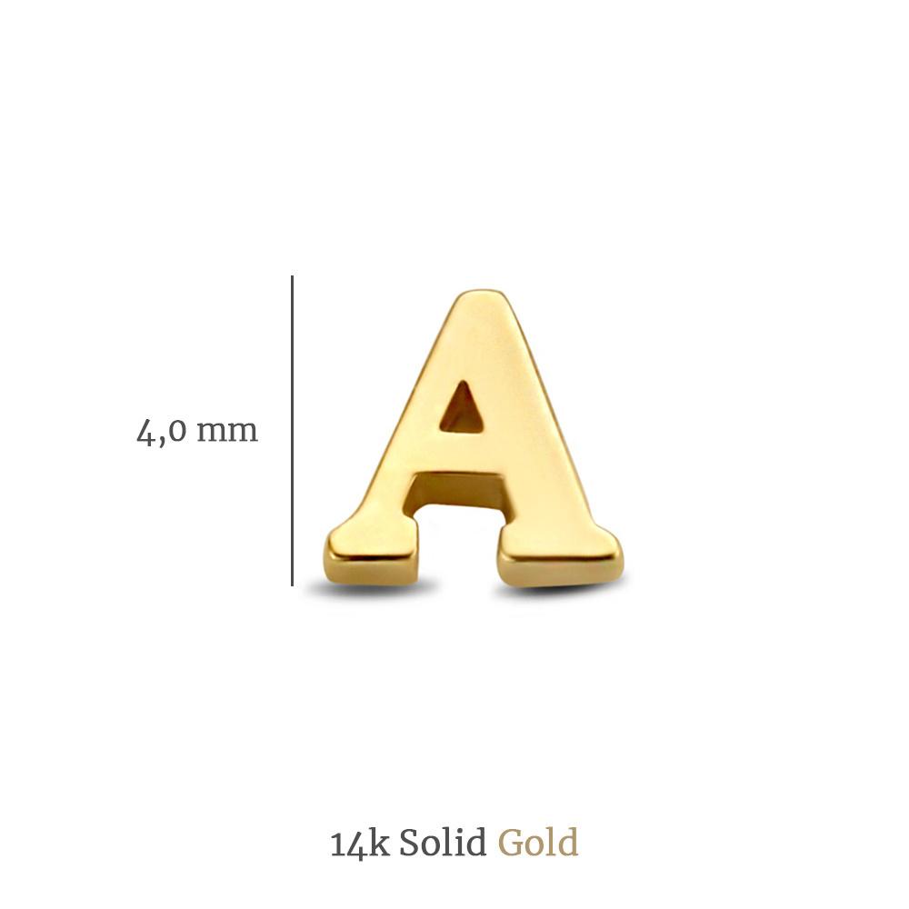 Isabel Bernard Le Marais Guillaine 14 karaat gouden initial enkele oorknop met letter