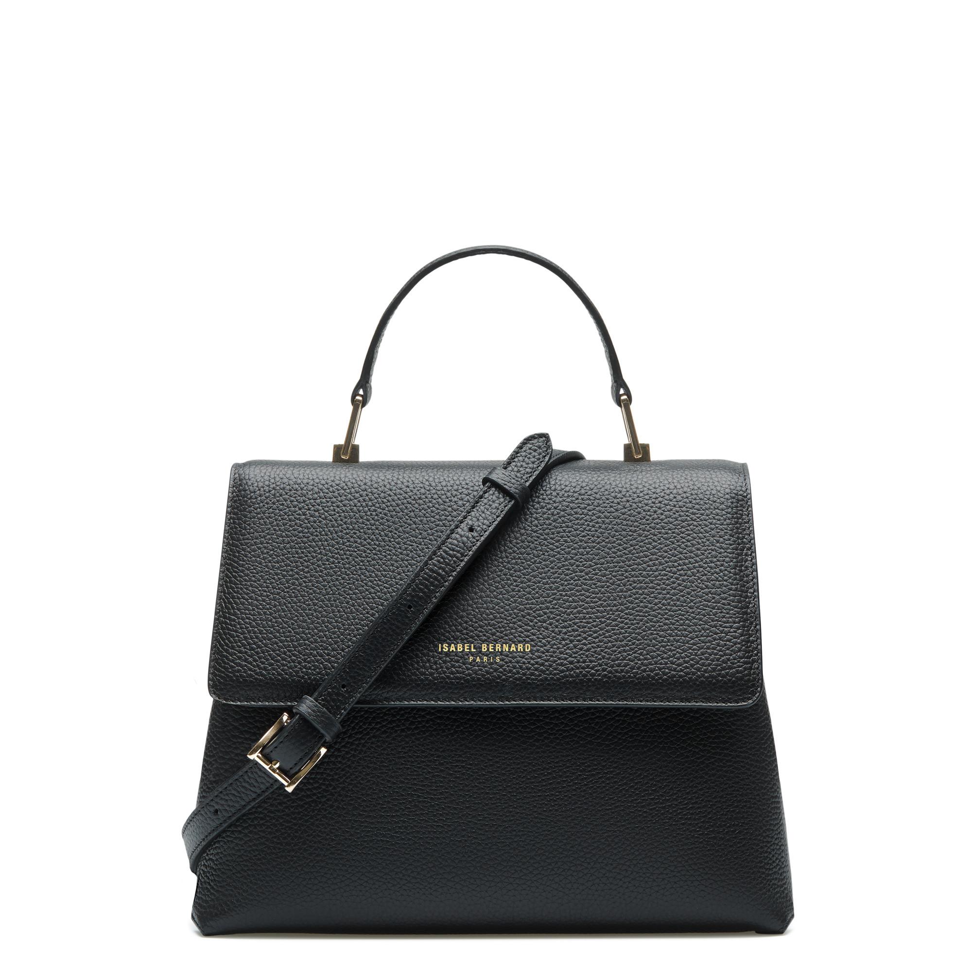 Isabel Bernard Femme Forte Gisel sort læder håndtaske lavet af kalveskind