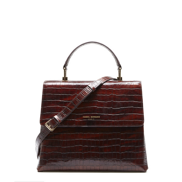 Isabel Bernard Femme Forte Gisel croco brown calfskin leather handbag