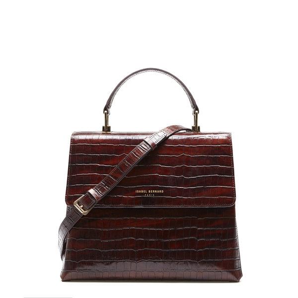 Isabel Bernard Femme Forte Gisel kroko braune Handtasche aus Kalbsleder