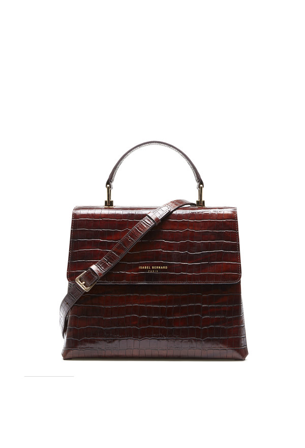 Isabel Bernard Femme Forte Gisel brun croco läder handväska gjord av kalvskinn