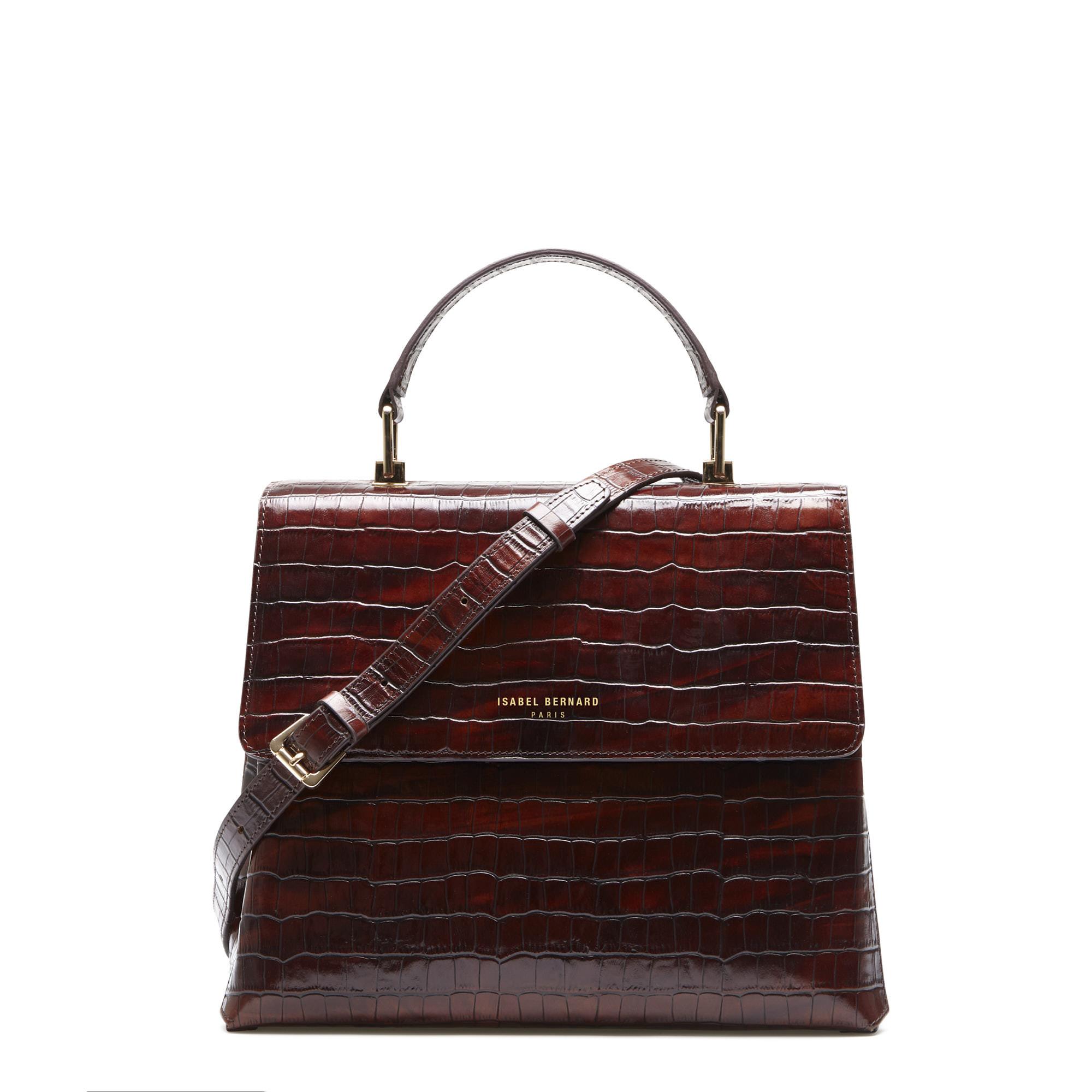 Isabel Bernard Femme Forte Gisel croco brun läder handväska av kalvskinn